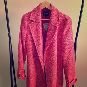 Express pink plaid wool trench